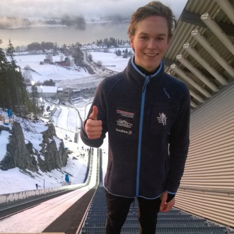Prøvehopper Kjell Andreas Næsvold i skiflygingsbakken i Vikersund. Foto: Gunnar Næsvold.